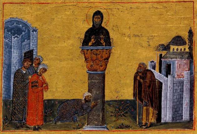 24 декабря Православная Церковь вспоминает преподобных Даниила Столпника и Луку Столпника Menologion_of_basil_005