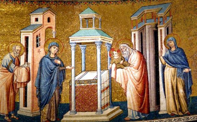 КАК ВСТРЕТИТЬ СРЕТЕНИЕ: ДЛЯ ЧЕГО ОСВЯЩАТЬ СВЕЧИ И ВОДУ Presentation-in-the-temple-mosaic