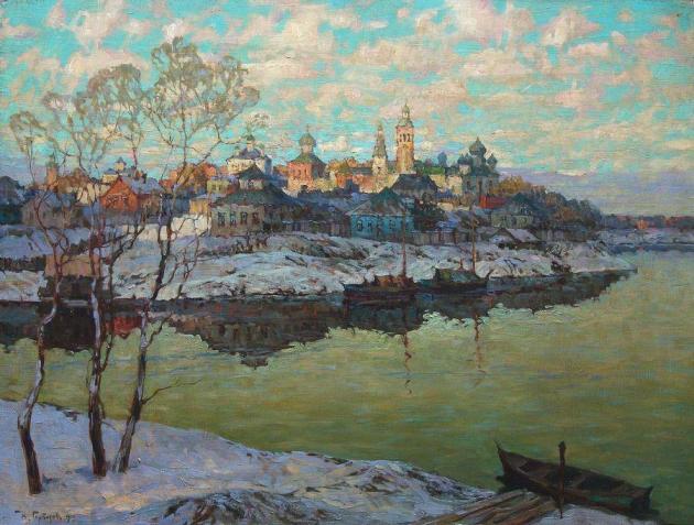 Горбатов Константин Иванович (1876-1945). Ранняя весна. Город на реке. 1916