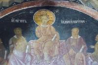 Христос учит иудеев и фарисеев - фреска в экзонартексе