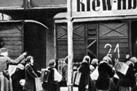 Киев, 1941 г. Поезд увозит киевлян на фашистскую каторгу в Германию