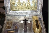 Ковчег с частицей Животворящего Креста Господня и мощами святой Марии Магдалины и других святых. Монастырь Симонопетра