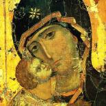 Владимирская икона Богородицы. XII в. Фрагмент